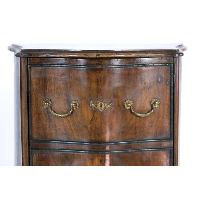 1890 Pair of Italian Walnut Bedside Tables With Carved and Ebonized Details, Each With Faux Drawer Front Single Doors For Sale In San Francisco - Image 6 of 13