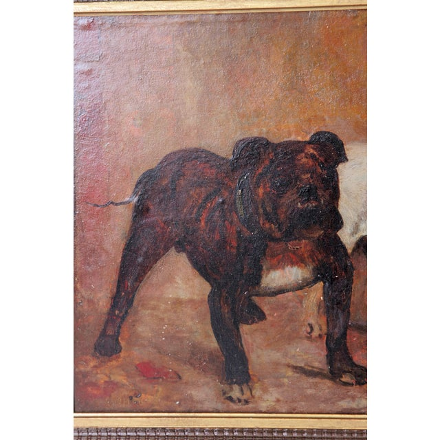 Early 20th Century Small Oil Painting on Board of Dogs For Sale - Image 5 of 13