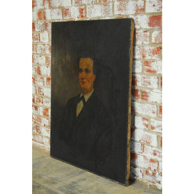 Canvas 19th Century English Portrait of a Gentleman Oil on Canvas For Sale - Image 7 of 10