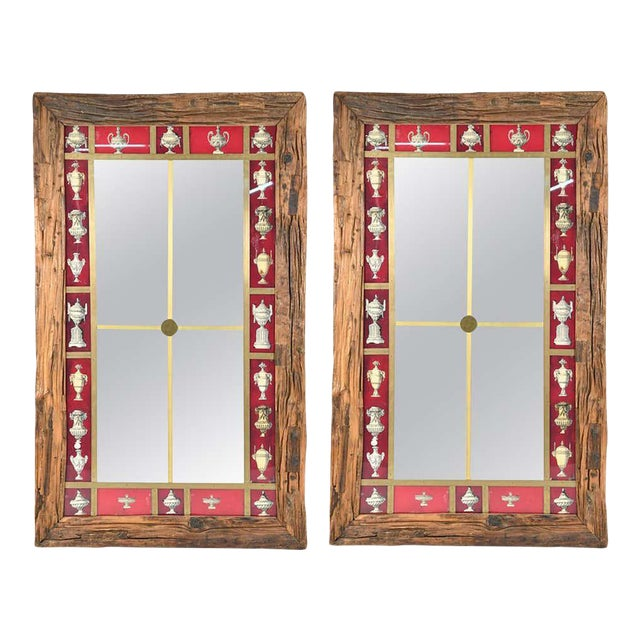 Rustic Italian Wall Mirror With Reverse Painted Classical Vases and Urns For Sale