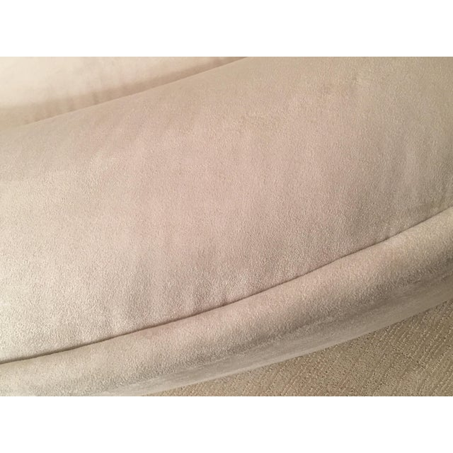 Modern White Suede Sofa Chaises - a Pair - Image 8 of 10