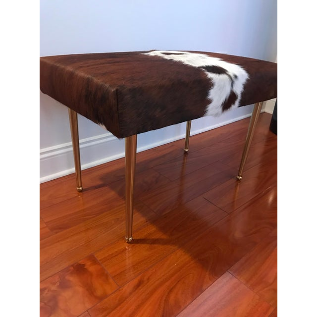 Modern Cow Hide Upholstered Bench With Brass Legs For Sale - Image 9 of 13