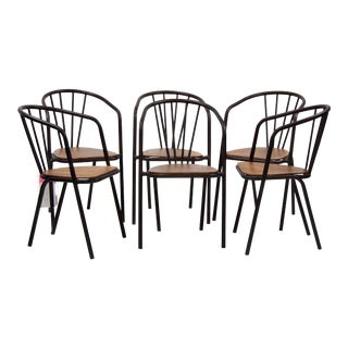 Mid-Century Metal and Wood Armchairs - Set of 6