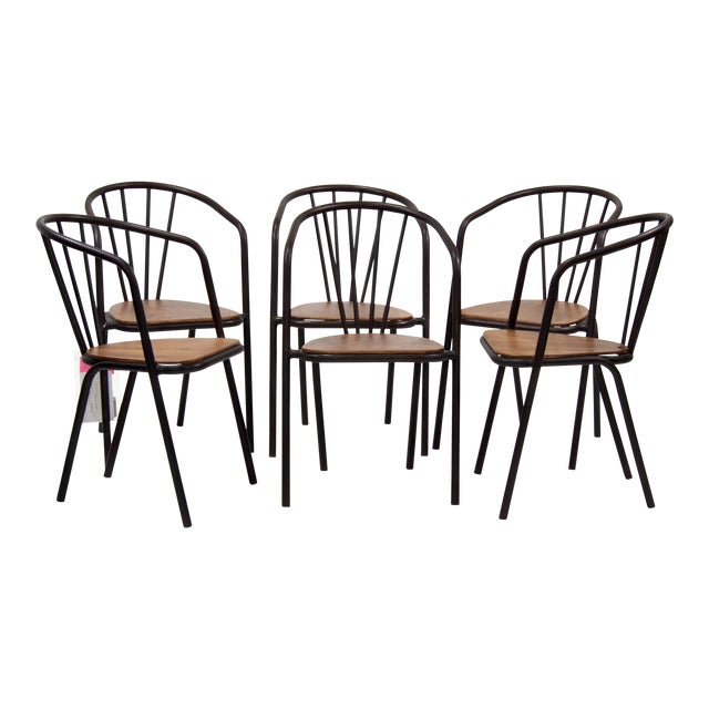 Mid-Century Metal and Wood Armchairs - Set of 6 For Sale