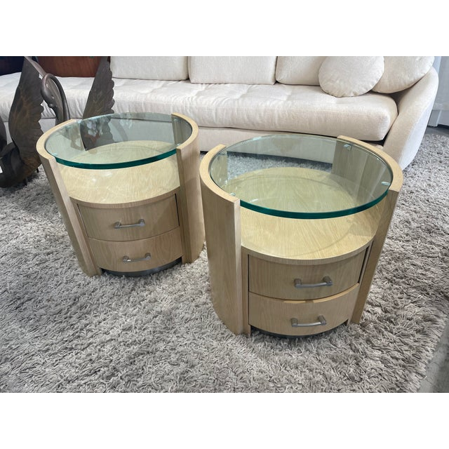 Pair of 1980s wood side tables signed Jay Specter in beautiful vintage condition. Each side table has two central drawers,...