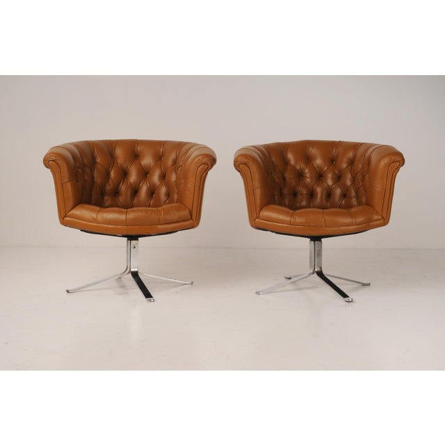 Tufted Swivel Chairs in Carmel Leather by Nicos Zographos - A Pair For Sale - Image 12 of 12