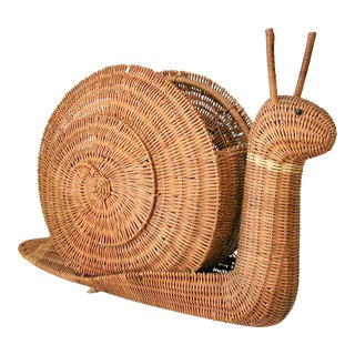 1960s Traditional Wicker Snail Basket