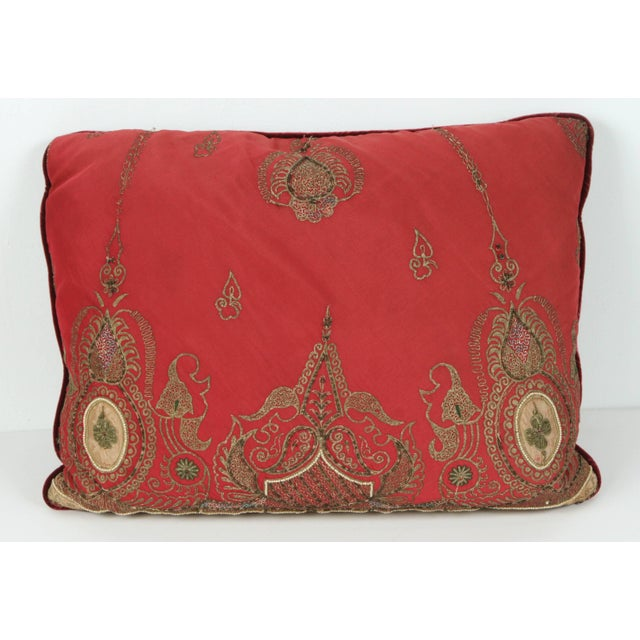 Gold Pair of Antique Turkish Ottoman Silk Pillows With Metallic Threads For Sale - Image 7 of 13