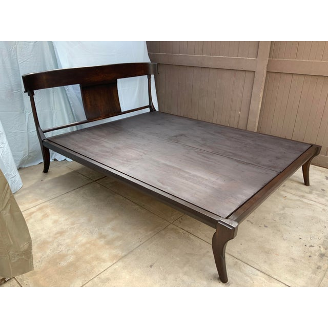 2010s Mid Century Modern Klismos Style Queen Bedframe For Sale - Image 5 of 8