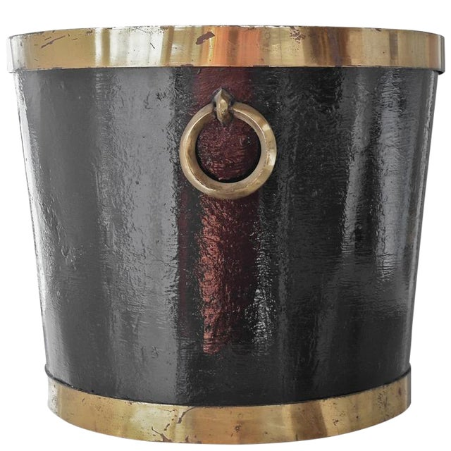 Mexican Brass and Painted Metal Bucket For Sale