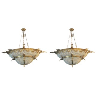 A Pair of Large Oval Double Bowl Shape Bronze and Crystal Basket Chandeliers For Sale