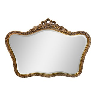 1980s French Baroque Style Gilt Wood Carved Mirror For Sale
