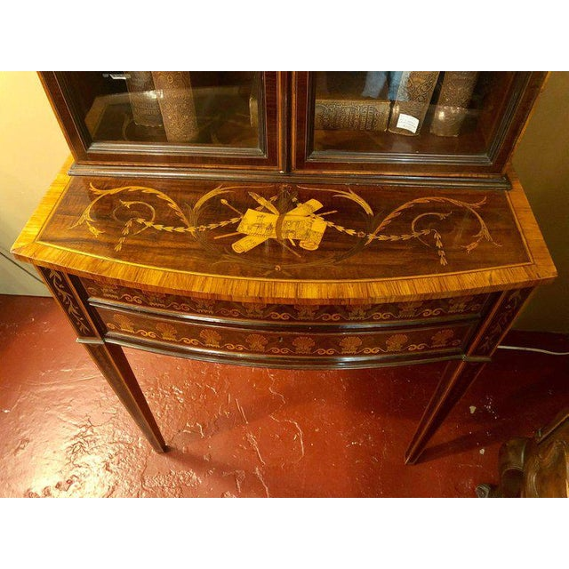 Wood 19th-Early 20th Century Edwardian Adams Inlaid Secretary Bookcase For Sale - Image 7 of 11