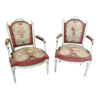 19th Century French Aubusson Tapestry & Carved Wood Fauteuil Arm Chairs - a Pair For Sale
