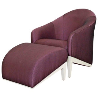 Contemporary Modern Purple Silk Lounge Chair & Ottoman For Sale