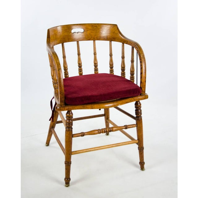 Americana Late 19th Century American Windsor Style Barrel Back Oak and Caned Side Chairs- A Pair For Sale - Image 3 of 13
