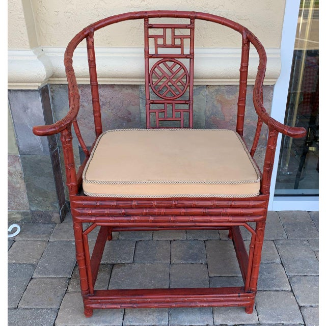 Pair of Chinese, horseshoe chairs made of bamboo. These quanyi (circle chairs) have graceful, swept crest rails that end...