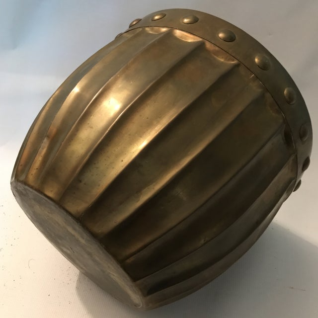 Gold Fluted Brass Planter For Sale - Image 8 of 11