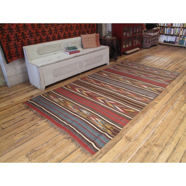 A superb, collectible, antique Kilim by Shahsavan tribal weavers of NW Iran. Glowing natural dyes, exciting design. One of...
