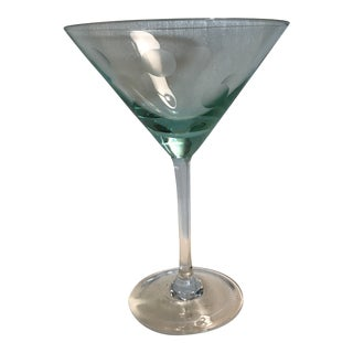 Teal Green Marquis by Waterford Etched Dot Crystal Martini Glass For Sale
