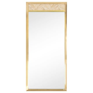Tall Brass & Travertine Mirror by Metz For Sale