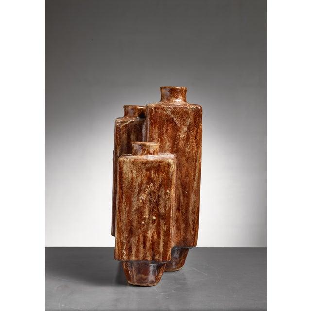 Mid-Century Modern Large (48 CM / 18.9 Inch) Brown Ceramic Vase, 1970 For Sale - Image 3 of 5