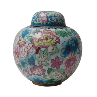 Chinese Blue Floral Enameled Metal Round Lidded Urn For Sale