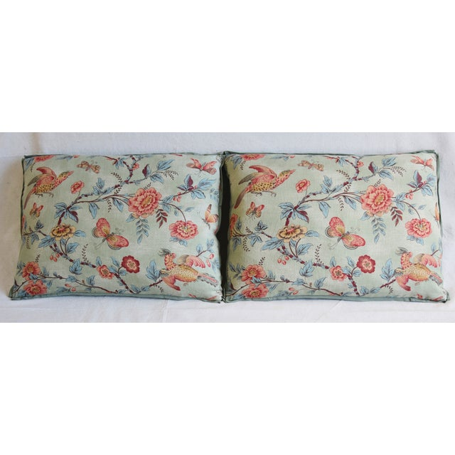 "Pair of custom-tailored pillows in vintage hand-printed 100% linen fabric from Jasper Fabrics called ""Wallace Vine""..."