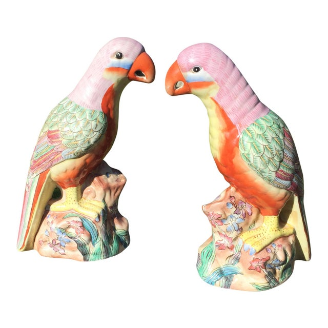 Mid 20th Century Vintage Hand Painted Porcelain Parrots - a Pair For Sale - Image 5 of 6