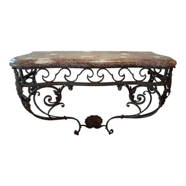 Black 19th Century Regency Wrought Iron Console Table With Marble Top For Sale - Image 8 of 9