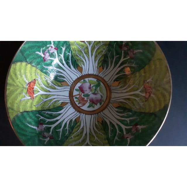 Green Vintage Porcelain Butterfly and Bok Choy Leaf Bowl For Sale - Image 8 of 9