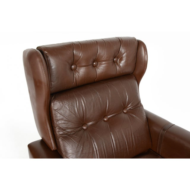 High Back Brown Leather Swivel Lounge Chair - Image 9 of 10