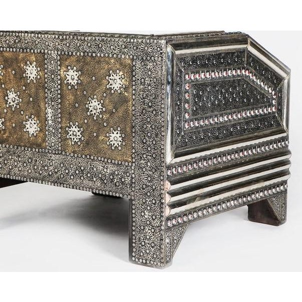Silver Metal and Leather Royal Moroccan Loveseat - Image 3 of 4