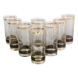 Culver Black & Gold Highball Glasses- Set of 8