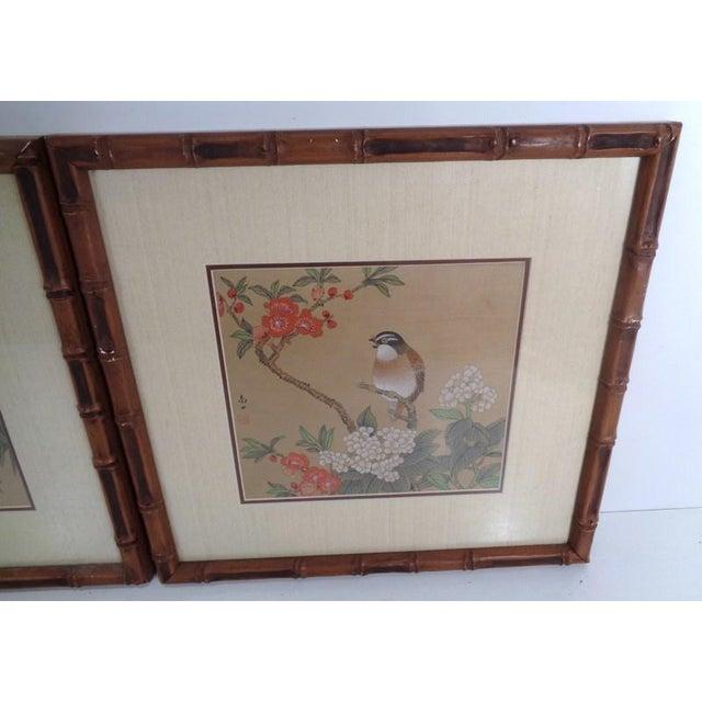 Mid 20th Century Vintage Regency Japanese Silk Bird & Floral Prints- Set of 3 For Sale - Image 5 of 10
