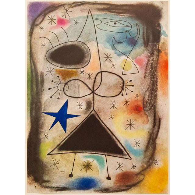 """1940s Juan Miró, """"Woman in the Night"""" Original Period Swiss Lithograph For Sale In Dallas - Image 6 of 8"""