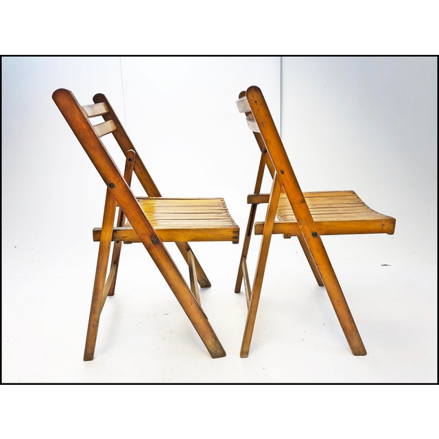 Vintage Rustic Slat Wood Folding Chairs - Set of 4 For Sale - Image 6 of 13