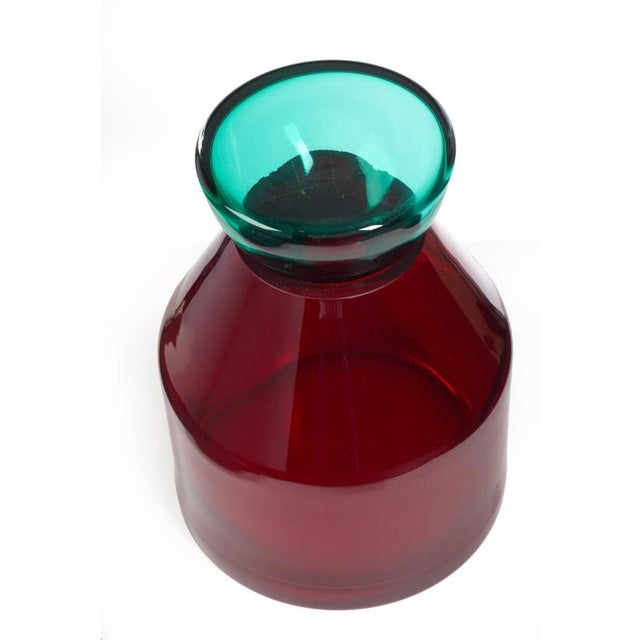 Italian Red & Aqua Glass Lidded Vases - a Pair For Sale - Image 4 of 7