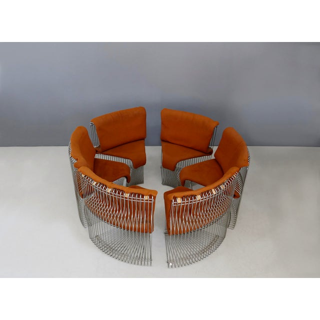 Complete set of 6 chairs and table by Verner Panton Pantanova series for the manufacture Fritz Hansen of 1971. The...