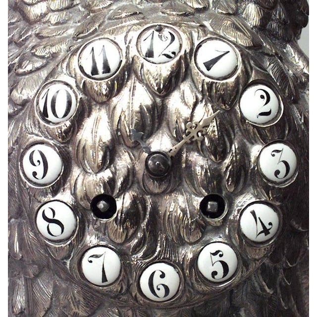 English Victorian Silver-Plated Owl Design Clock and Pair of Candelabra For Sale - Image 4 of 10