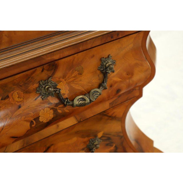 Italian Bombe Inlay Olive Wood Dresser Drop Front Jewerly Compartment Secretary For Sale - Image 9 of 13