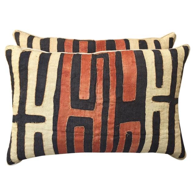 African Kuba Cloth Pillows - Pair - Image 1 of 5
