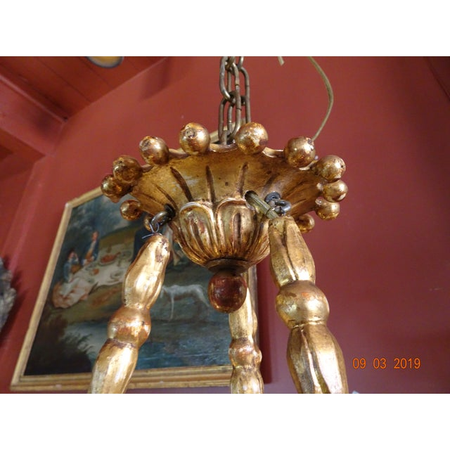 Gold 19th Century Italian Gilt Wood Chandelier For Sale - Image 8 of 13