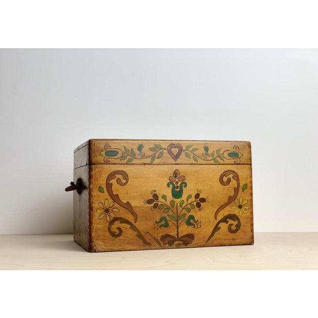 Small Hand Painted Folk Art Wooden Trunk For Sale - Image 4 of 11
