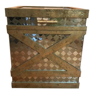 Art Deco Gold & Antique Mirrored Storage Chest Side Table For Sale