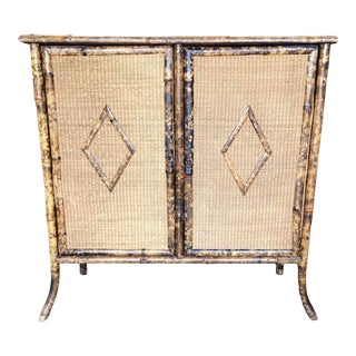 Late 19th Century Antique English Wicker & Bamboo Cabinet For Sale
