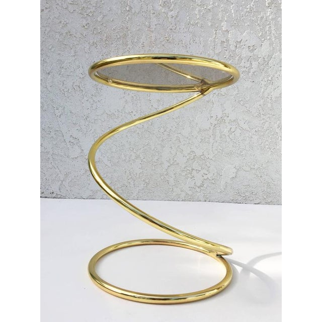 Gold Brass and Bronze Glass Spiral Occasional Tables by Pace Collection - A Pair For Sale - Image 8 of 9