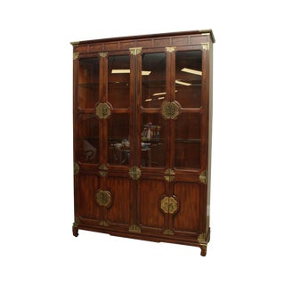 "Henredon ""Pan Asian"" Collection Mahogany China Display Cabinet For Sale"