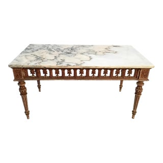 1920s Louis XVI Marble Top Coffee Table For Sale