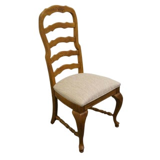 Late 20th Century Vintage American Drew Country French Oak Ladder Back Dining Side Chair For Sale
